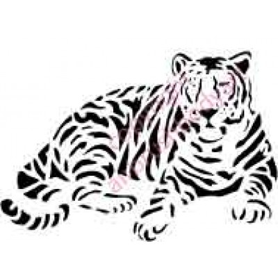 0009 tiger lying down re-usable stencil