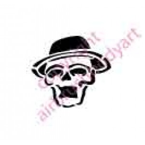 0105 skull with hat re-usable stencil