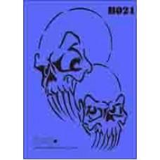 b21 xxl skull stencil 250mm x 350mm