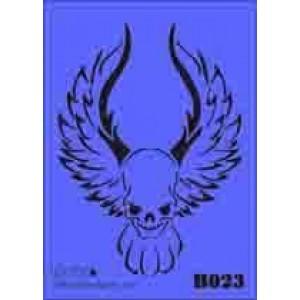 b23 xxl skull wings stencil 250mm x 350mm