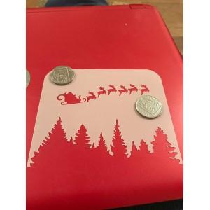 santa and sleigh 6 reindeer reusable stencil