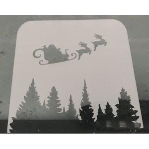 santa and sleigh reusable stencil