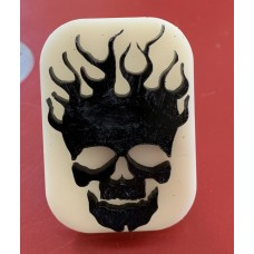 064 Flaming Skull Glitter Stamp