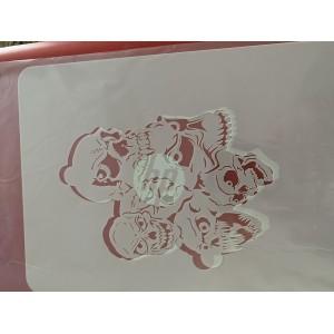 multi Skull tattoo sleeve stencil