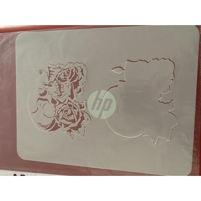 rose Skull tattoo sleeve stencil