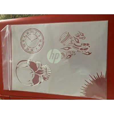 Time/ Skull tattoo sleeve stencil