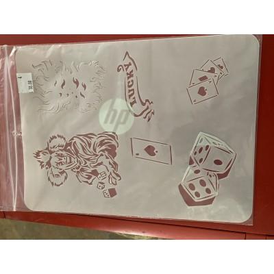gambling clownl tattoo sleeve stencil