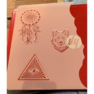 wolf and dreamcatcher  tattoo sleeve stencil