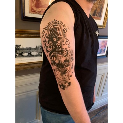 microphone and music tattoo sleeve stencil
